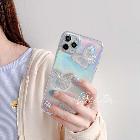 Butterfly color white glitter iphone case