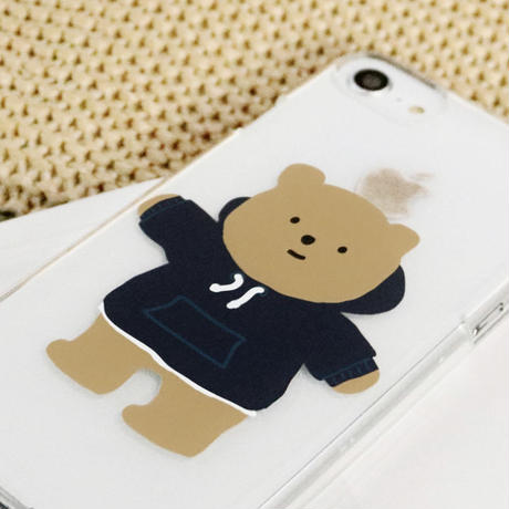Sweat suit bear clear with grip case  067