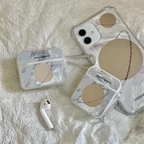 Outer space mirror airpods case