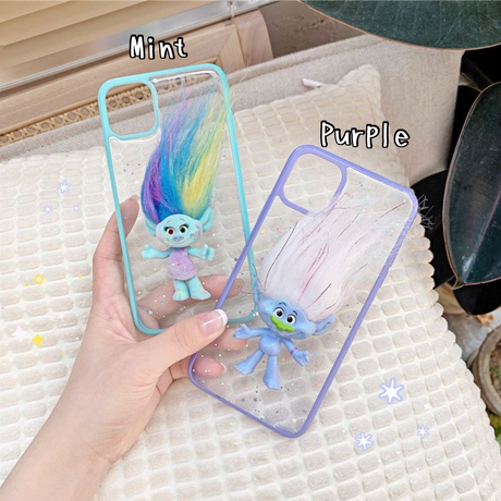 Troll friend mint purple glitter iphone case
