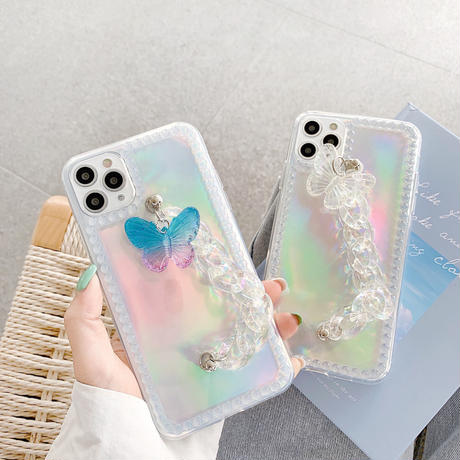 Butterfly color white clear strap iphone case