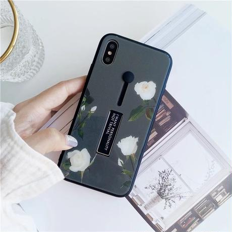 Grey flower black band iphone case