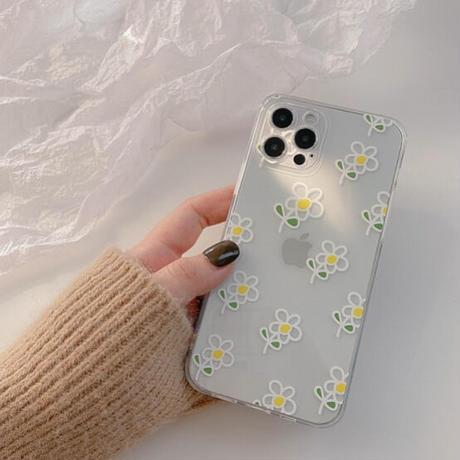 White line flower iphone case