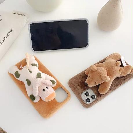 Animal doll fur iphone case (8colors)