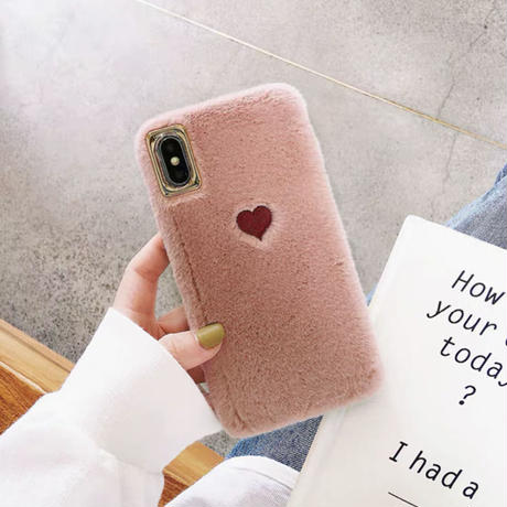 Red heart fur  iphone case