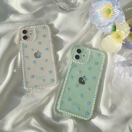 Small blue flower pearl line iphone case