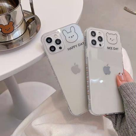 Happy day rabbit bear iphone case