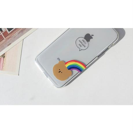 (Right) Rainbow bear clear case
