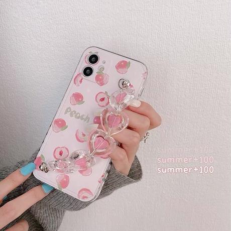 Peach heart strap iphone case