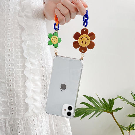 Smile flower strap clear iphone case