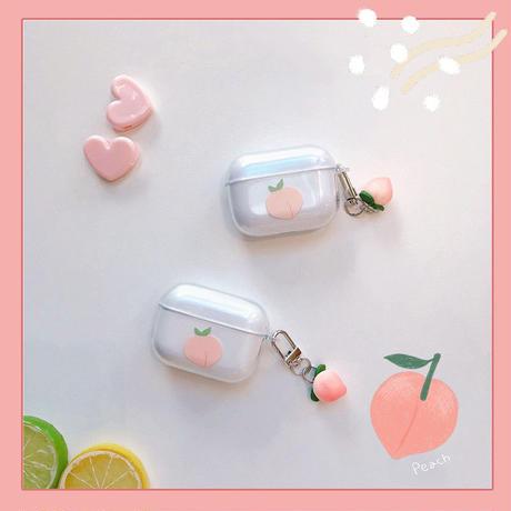 Peach clear keyring airpods case