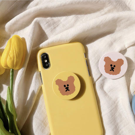 Furry bear grip for phone