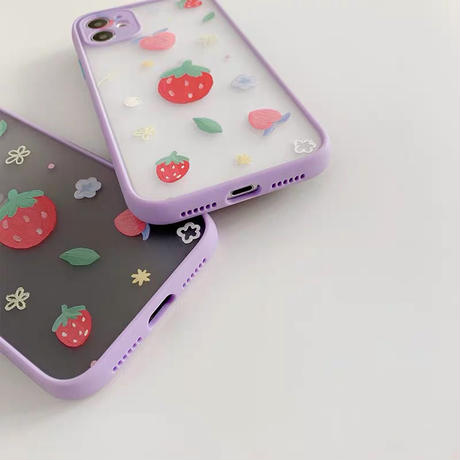 Strawberry peach purple side iphone case