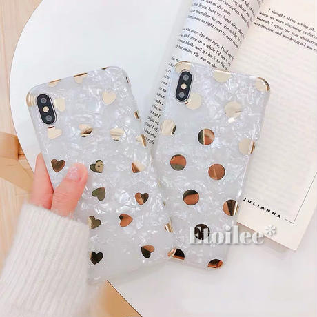 Gold dot heart shell iphone case