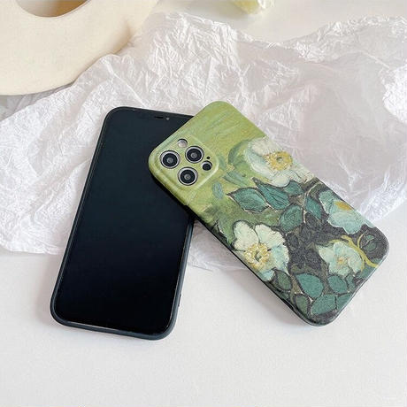 White flower drawing green iphone case