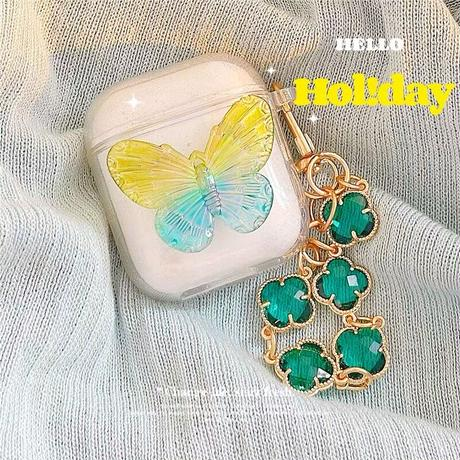 Green butterfly airpods case