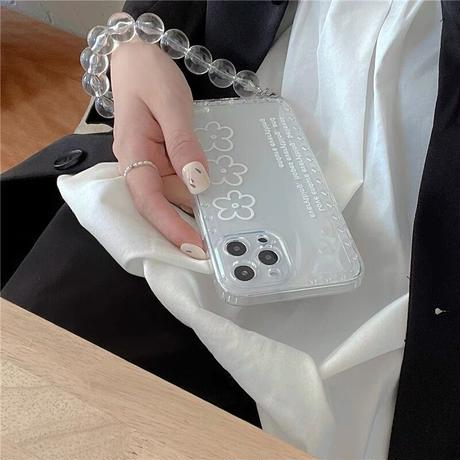 White flower clear strap iphone case
