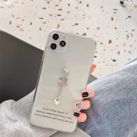 Love silver heart clear iphone case
