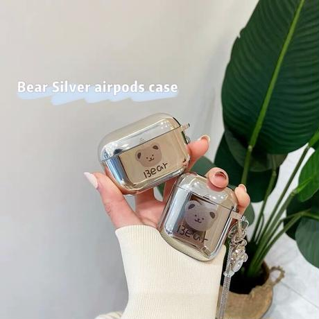 Bear silver airpods case