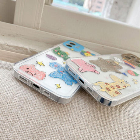 Animal pencil drawing line clear iphone case