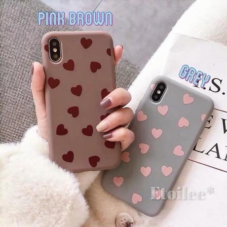 Pinkbrown grey heart iphone case