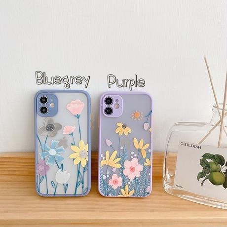 Flower drawing purple bluegrey color side iphone case