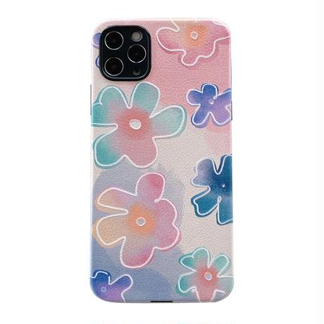 Rainbow white flower line iphone case