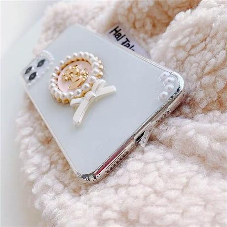 Pink girl brooch clear iphone case