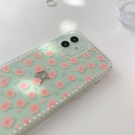 Small pink flower pearl line iphone case