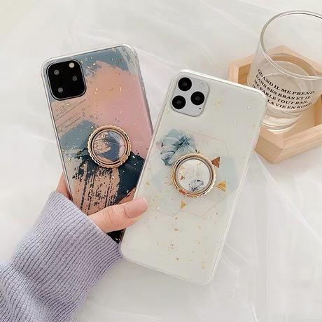 Pink white marble with grip iphone case