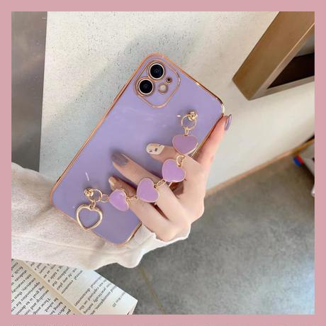 Purple heart strap iphone case