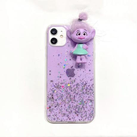 Troll lightpurple color glitter iphone case