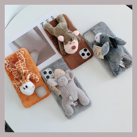 Animal doll fur iphone case (4colors)