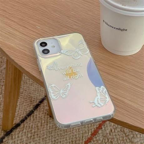 White butterfly laser iphone case