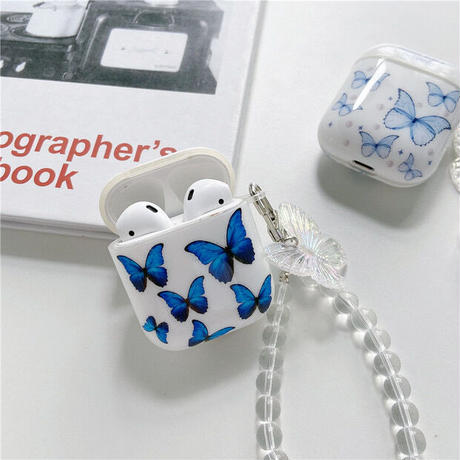 Blue butterfly airpods case