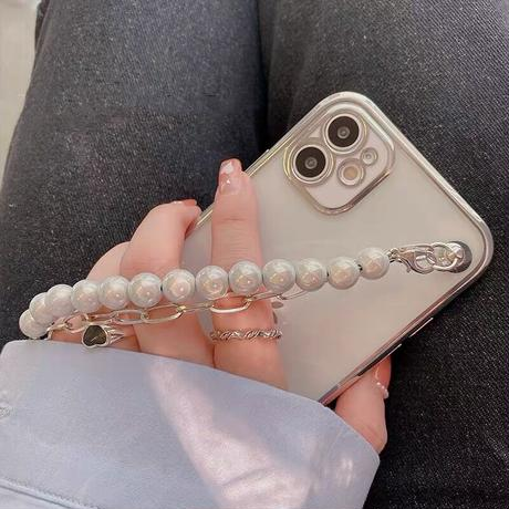 Silver side pearl strap iphone case
