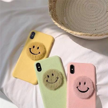 Pastel smile fur iphone case