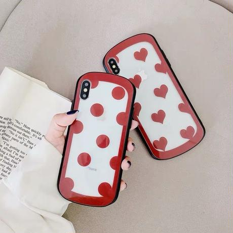 Red dot heart  iphone case