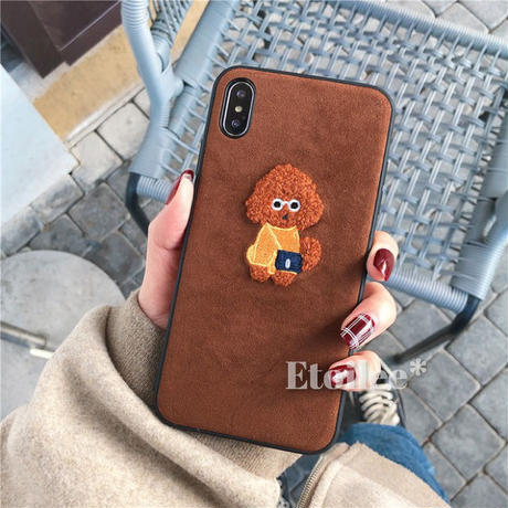 Poodle  embroidered iphone case