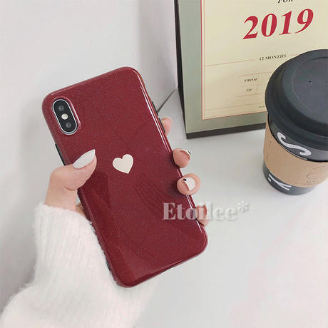 Beige heart red iphone case