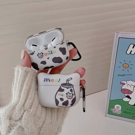 Moo milk pattern airpods case
