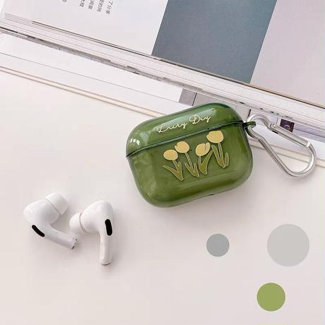 Yellow tulip green airpods case
