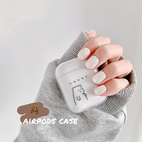 Lucky bear white black clear airpods case