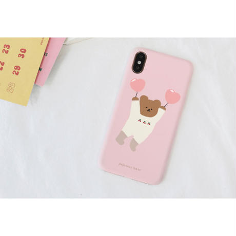 Pink balloon bear with grip case