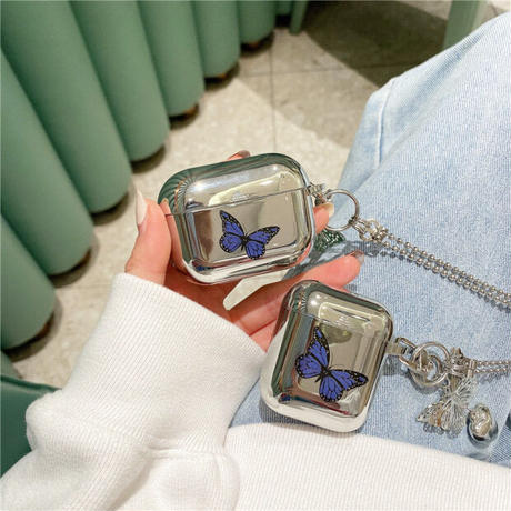 Butterfly silver airpods case