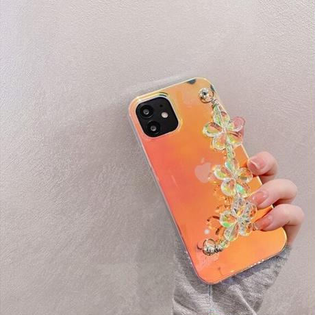 Laser flower clear strap iphone case