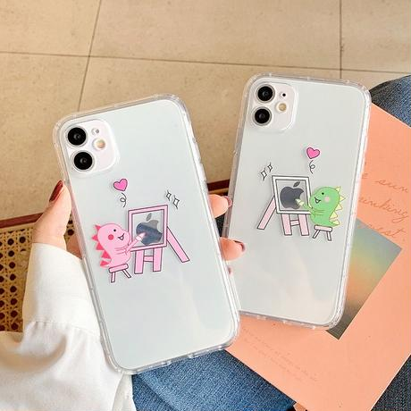 Dinosaur drawing green pink clear iphone case