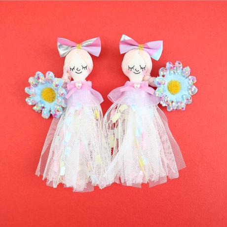 Blue Flower/Star Sequins Earrings