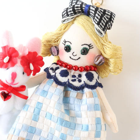 France Checkered Dress Doll Charm