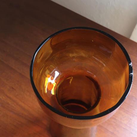 ヴィンテージガラス/ハンドメイド/吹きガラス/ヒヤシンス花瓶/アンバーカラー